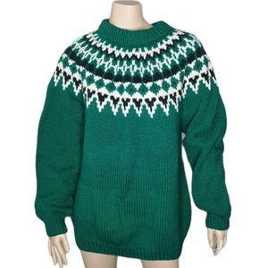 Hand Knit Icelandic Sweater Warm Winter Fisherman Christmas Holiday
